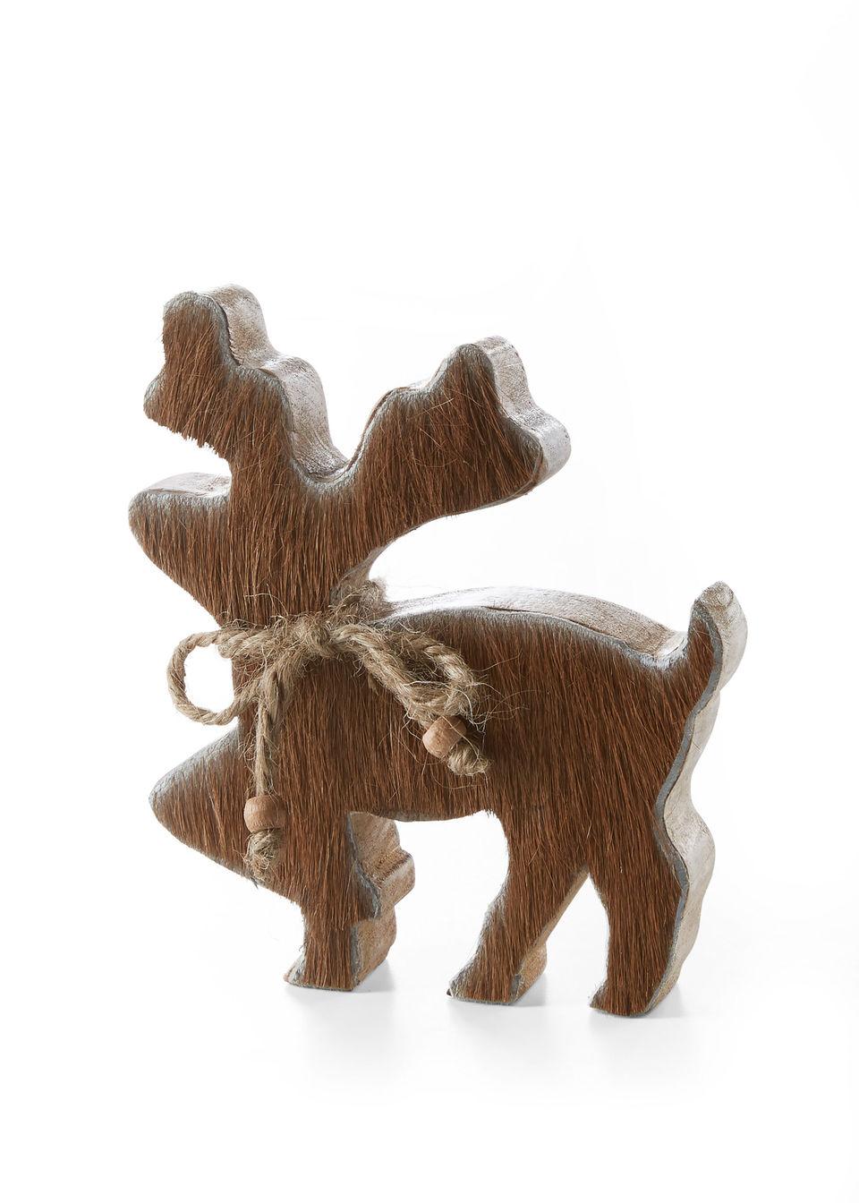 Купить Декорации, Лось деревянный с коровьим мехом, bonprix, коричневый