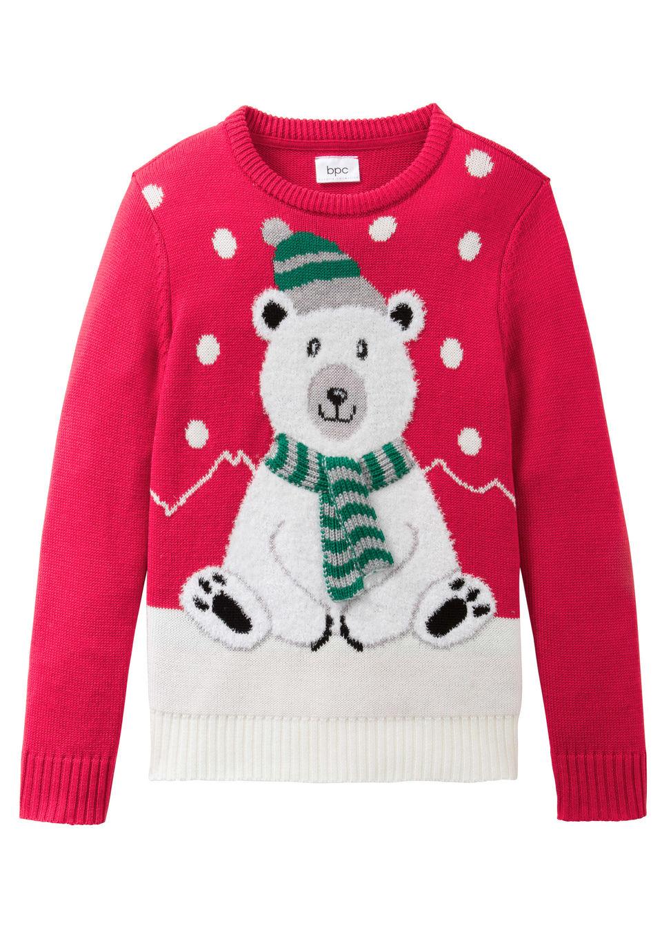 Kötött pulóver téli motívummal lányoknak