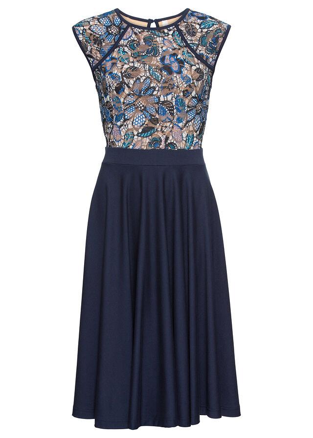 0fea9568b0 Sukienka koronkowa ciemnoniebieski w kwiaty • 149.99 zł • bonprix