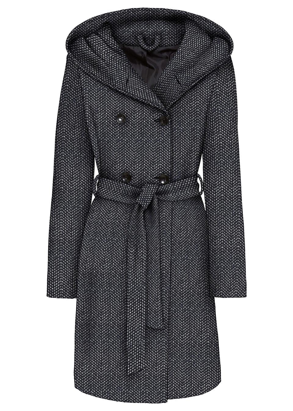 Krótki płaszcz z domieszką wełny bonprix czarno-biel wełny