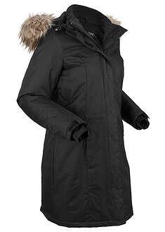 Ciepły płaszcz funkcyjny ze sztucznym futerkiem czarny