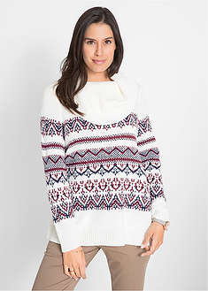 Sweter w norweski wzór, z szerokim golfem bpc bonprix collection 27