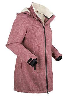 Długa kurtka outdoorowa funkcyjna z polarem barankiem bordowy melanż