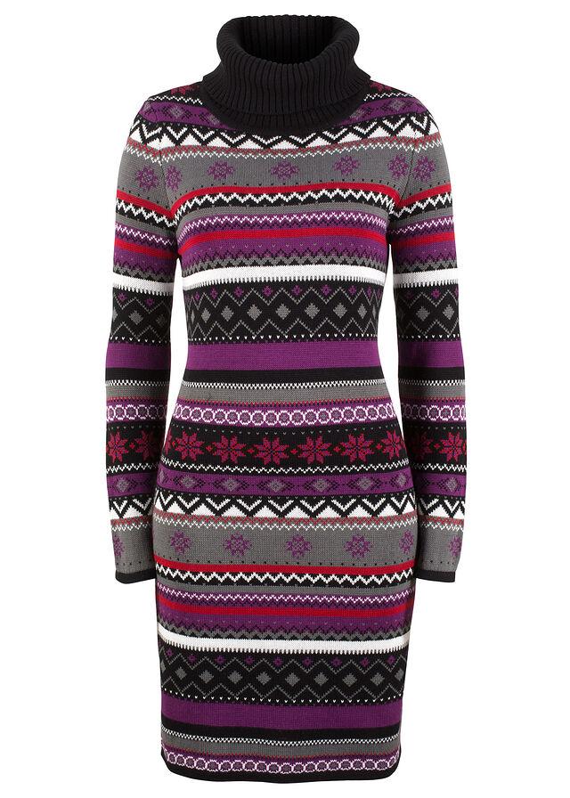 Jacquard kötött ruha fekete mintás • 6999.0 Ft • bonprix 5b503c53b6