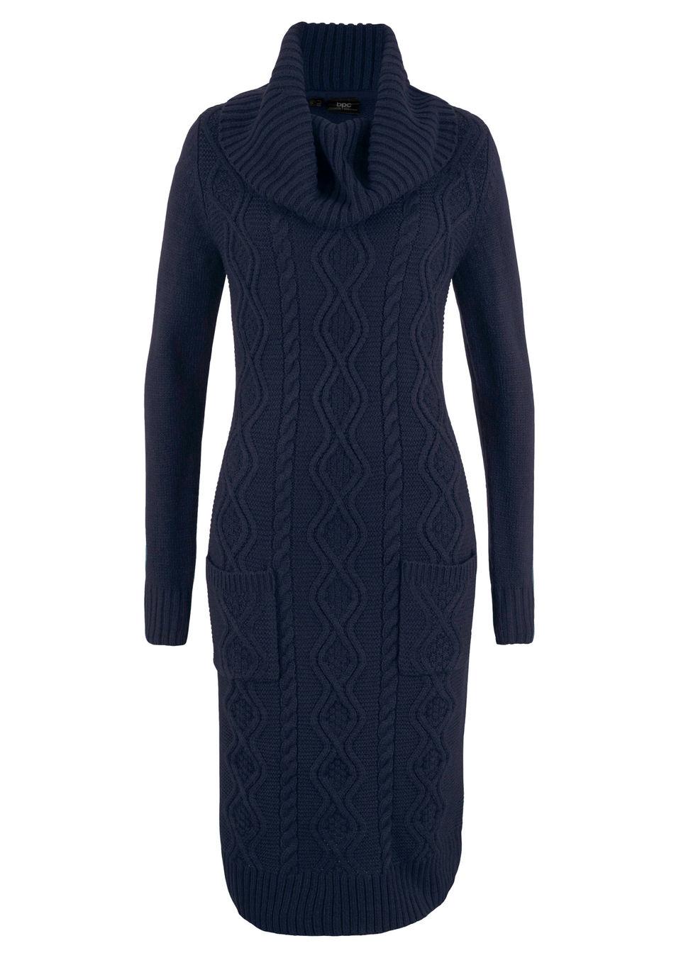 Sukienka dzianinowa z kieszeniami bonprix ciemnoniebieski