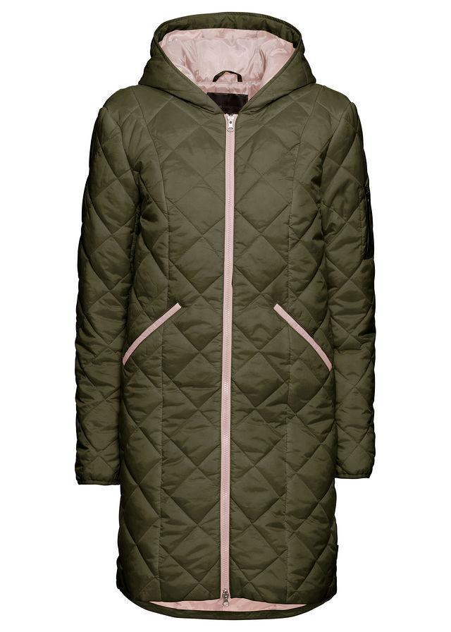 47a7bbde5244 Prešívaný kabát olivová-jemná ružová • 34.99 € • bonprix
