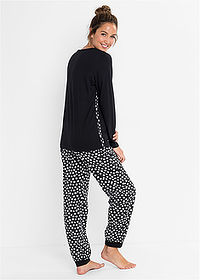 Pijama negru/alb cu model bpc bonprix collection 2