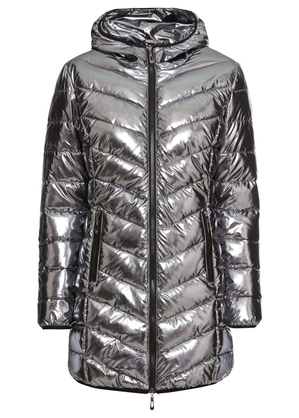 Płaszcz pikowany metaliczny bonprix antracytowy metaliczny