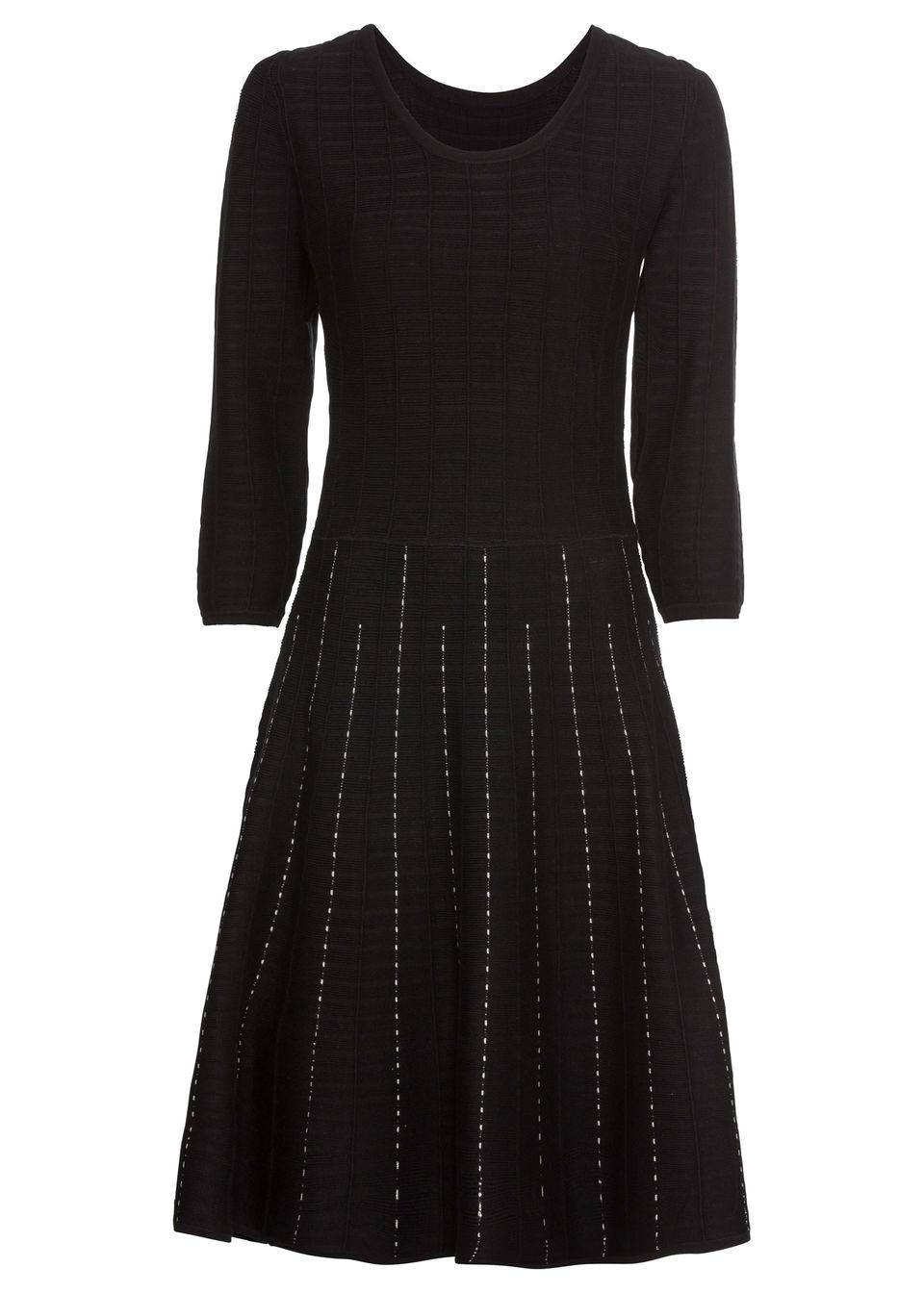 Sukienka dzianinowa w paski bonprix czarno-biel wełny