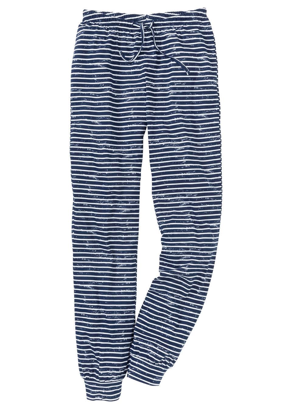 Spodnie piżamowe bonprix ciemnoniebiesko-biały w paski