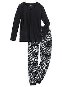 Pijama negru/alb cu model bpc bonprix collection 0