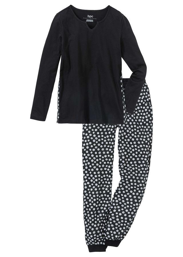 Piżama z legginsami 34 bonprix czarno biały