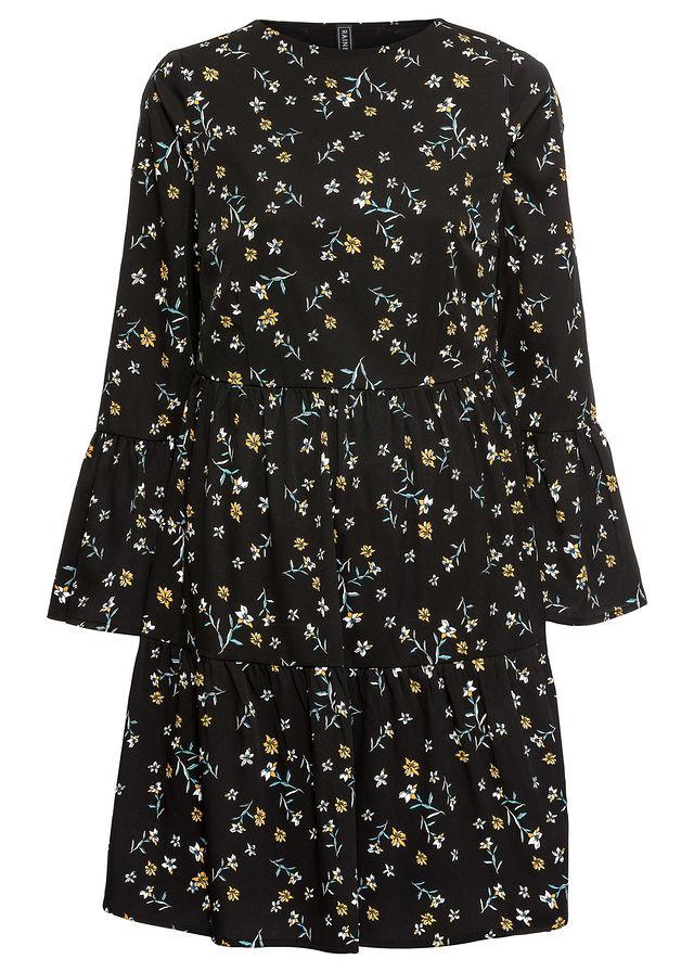 832473c4d3 Sukienka z falbanami czarny w kwiaty • 109.99 zł • bonprix