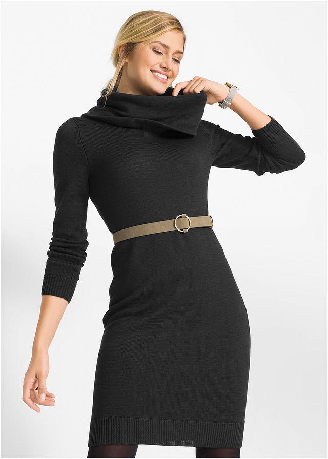 Garbó nyakú kötött ruha fekete Hossza a • 5499.0 Ft • bonprix 0e8418bd04