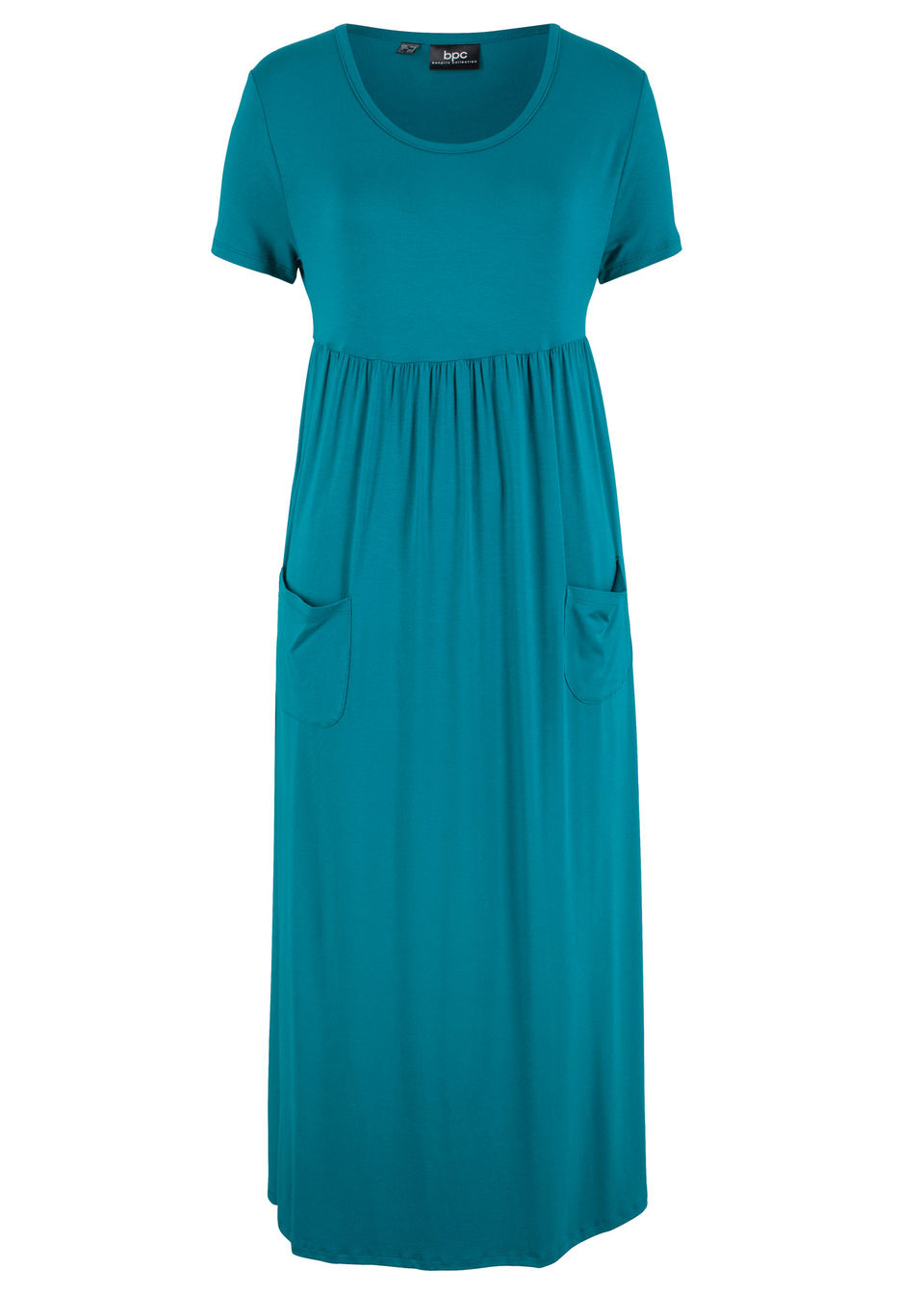 Sukienka maxi ze stretchem, z okrągłym dekoltem i krótkim rękawem bonprix morski turkusowy