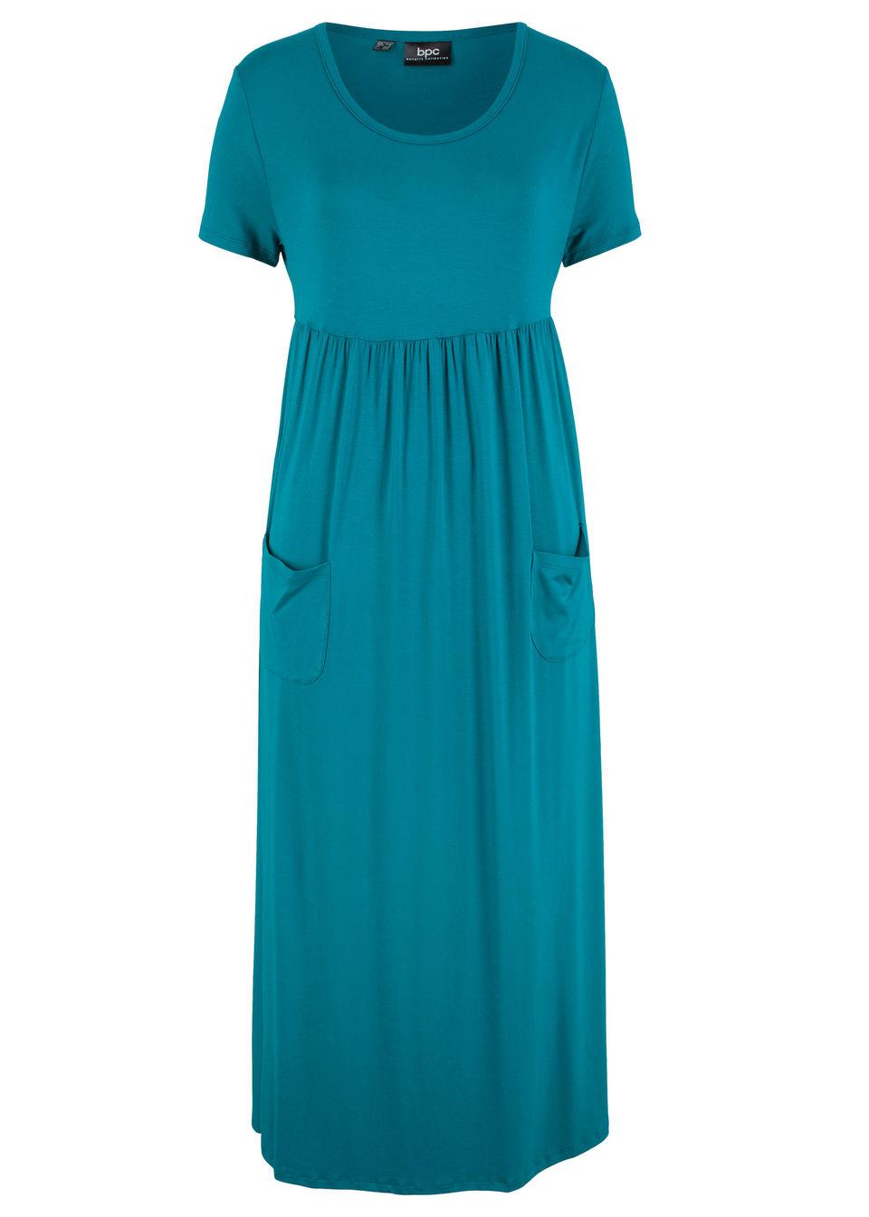 Sukienka midi ze stretchem, z okrągłym dekoltem i krótkim rękawem bonprix morski turkusowy