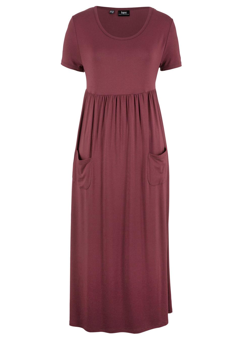 Sukienka maxi ze stretchem, z okrągłym dekoltem i krótkim rękawem bonprix czerwony klonowy