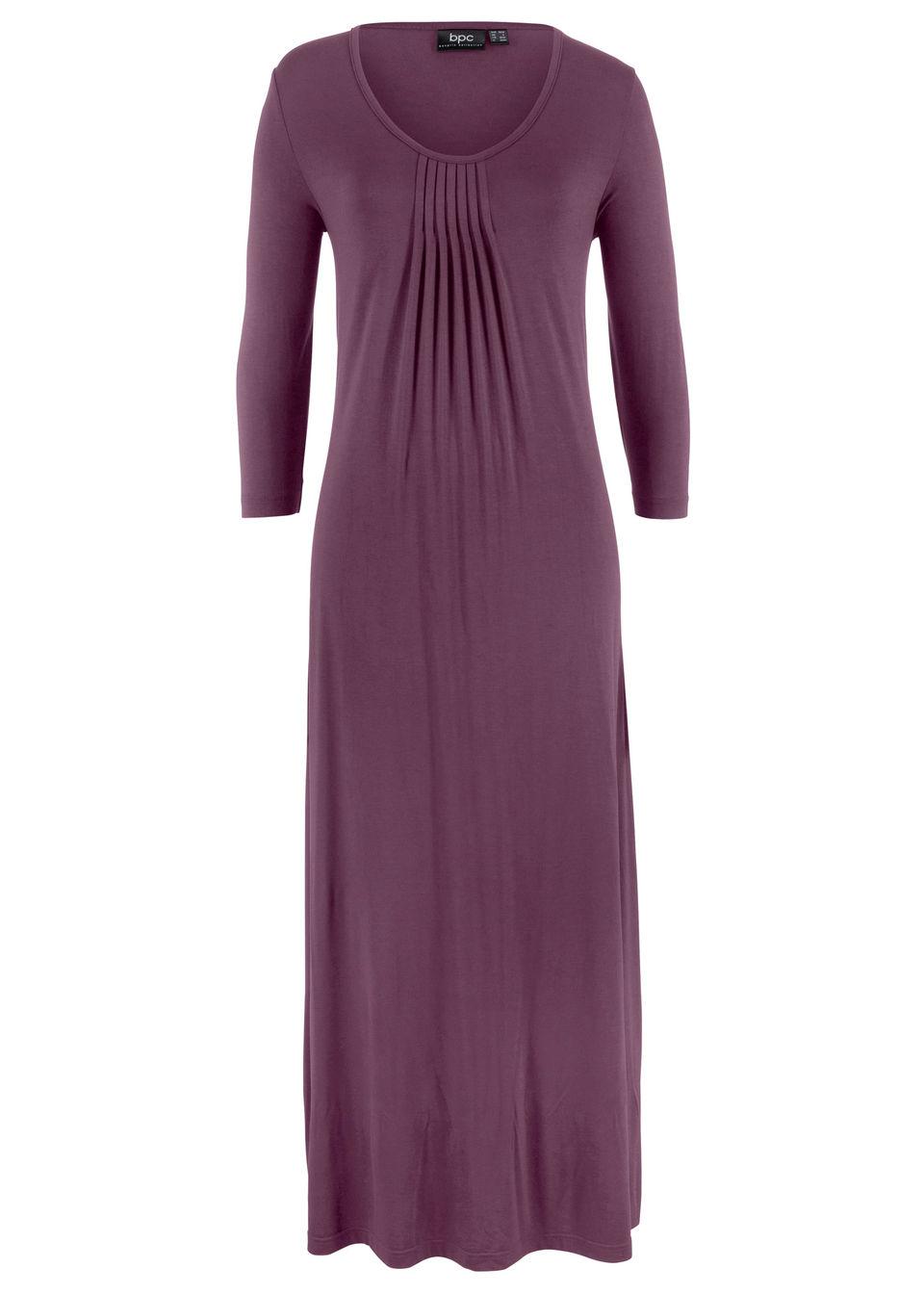 Długa sukienka ze stretchem, o linii litery A, rękawy 3/4 bonprix czarny bez