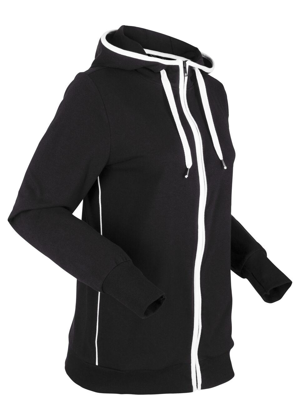 Bluza rozpinana z kapturem bonprix czarno-biały