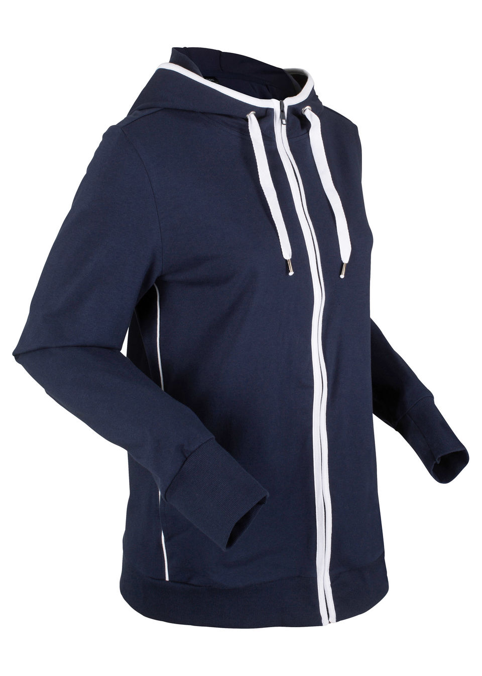 Bluza rozpinana z kapturem bonprix ciemnoniebiesko-biały
