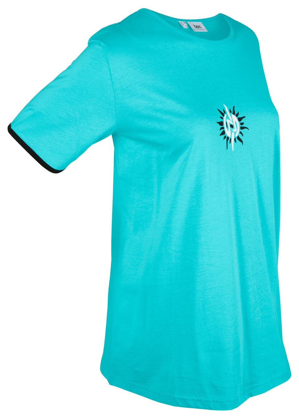 Купить Удлиненная хлопковая футболка, bonprix, аква/черный