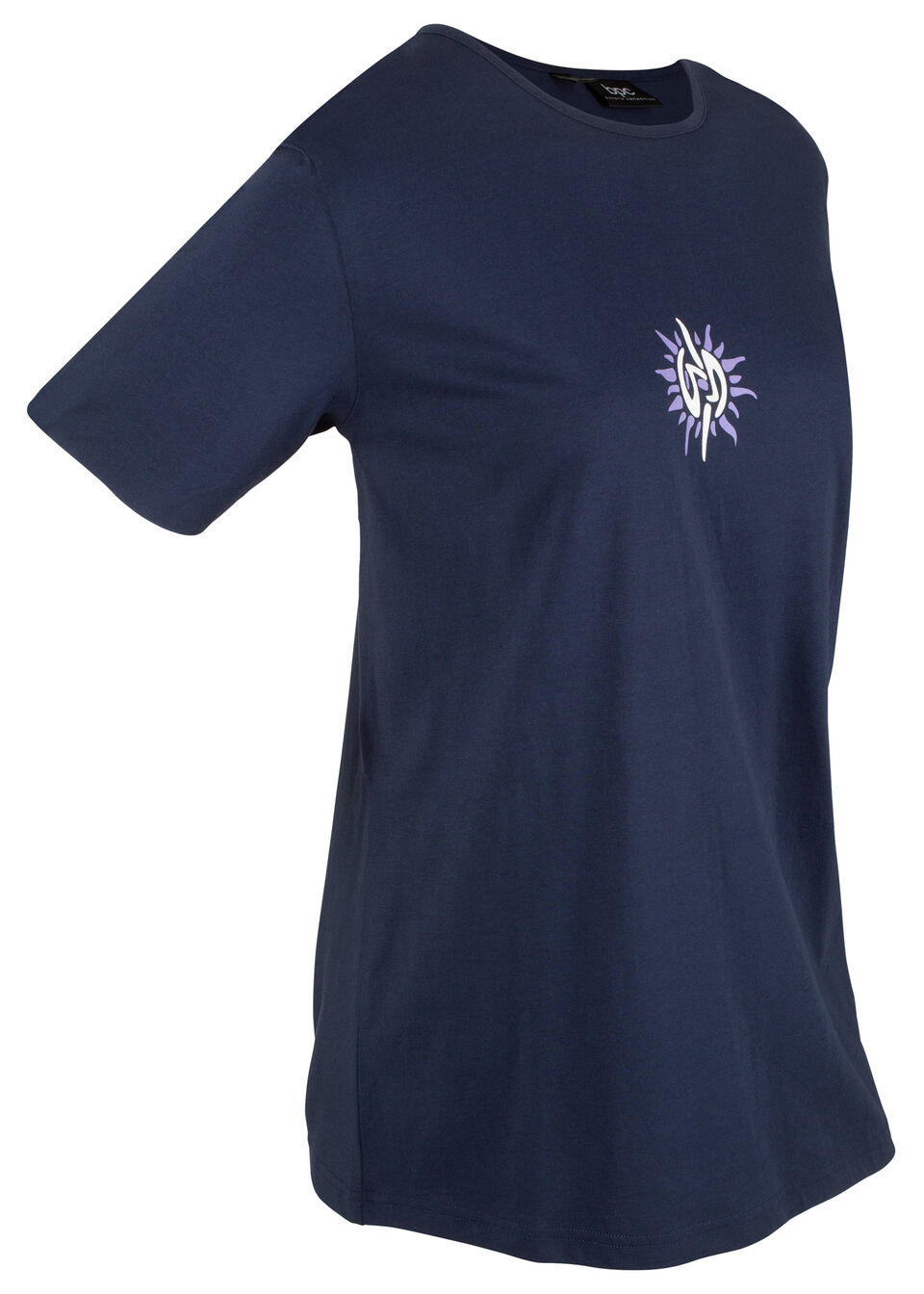 Купить Удлиненная хлопковая футболка, bonprix, темно-синий/белый