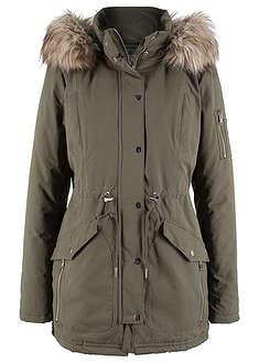 c9945cd62b Pamut parka kabát szőrmeutánzattal sötét olivazöld • 18999.0 Ft ...