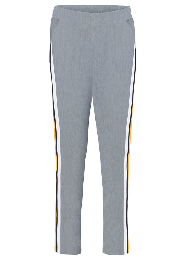 Nohavice s kontrastne sfarbenými pásikmi svetlosivá melírovaná-pásiky •  22.99 € • bonprix 33bce14bf93