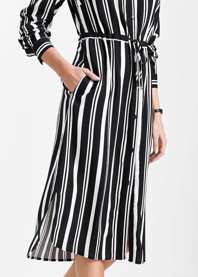 01dee4ac49 Sukienka szmizjerka czarno-biały z nadrukiem • 109.99 zł • bonprix