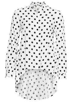 Bluzka z dłuższym tyłem biel wełny - czarny w kropki