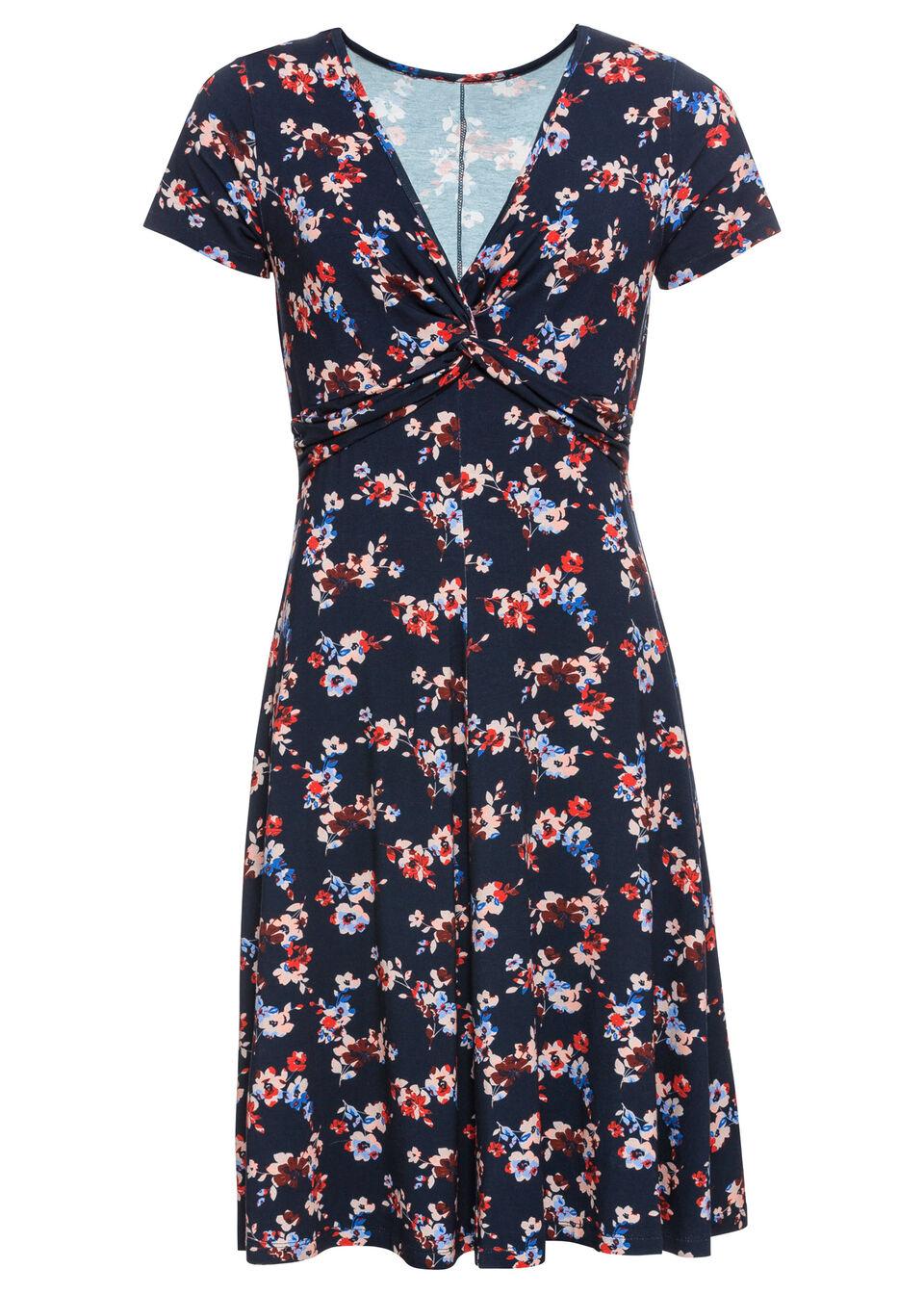 Sukienka z d?erseju bonprix ciemnoniebieski w kwiaty