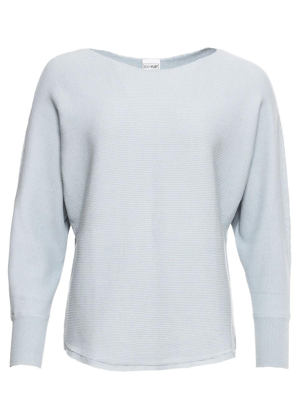 """Sweter w prążek """"oversize"""" bonprix pudrowy niebieski melanż nowy"""