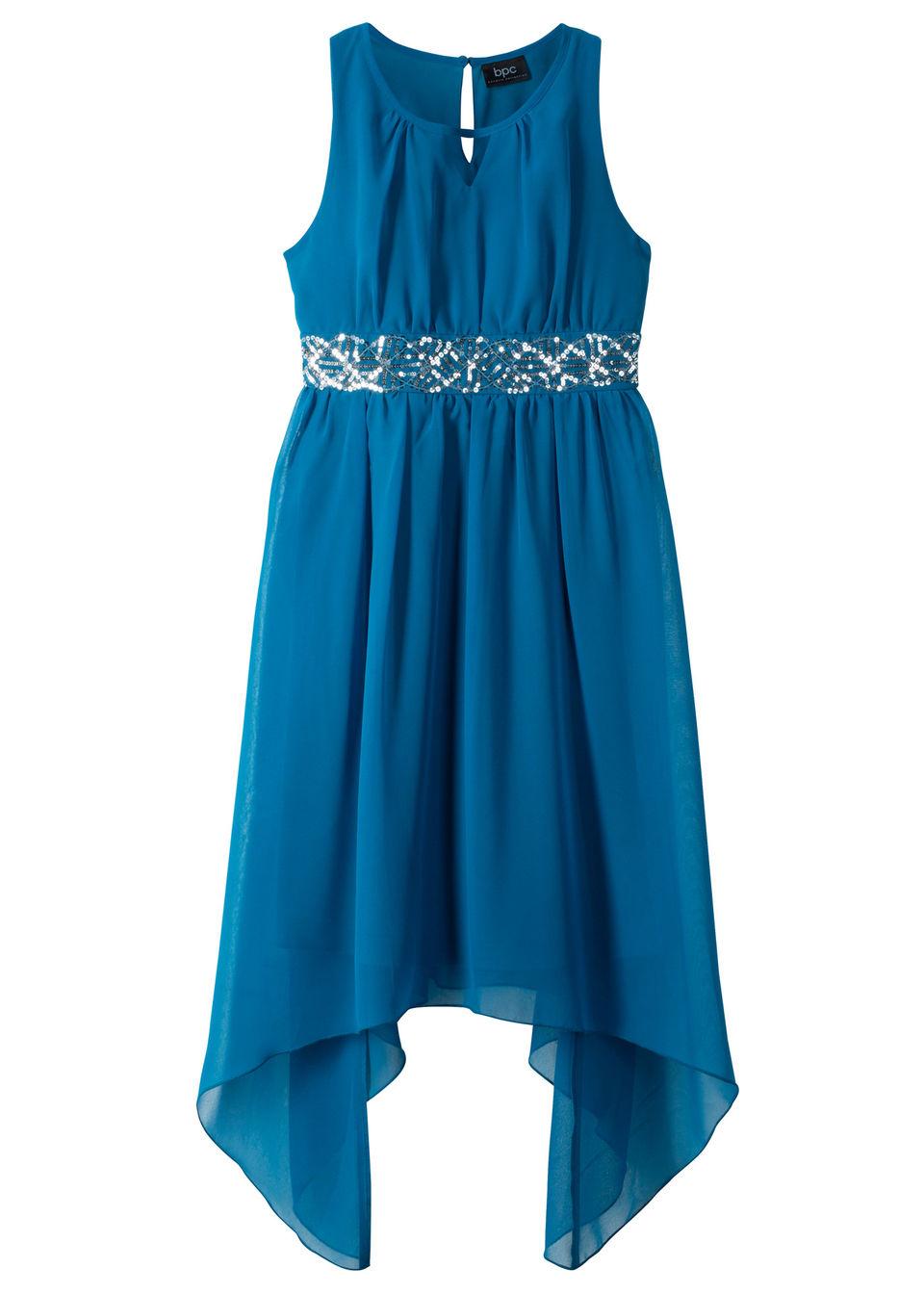 Sukienka dziewczęca z cekinami bonprix Sukienka z cek.nieb.ocean