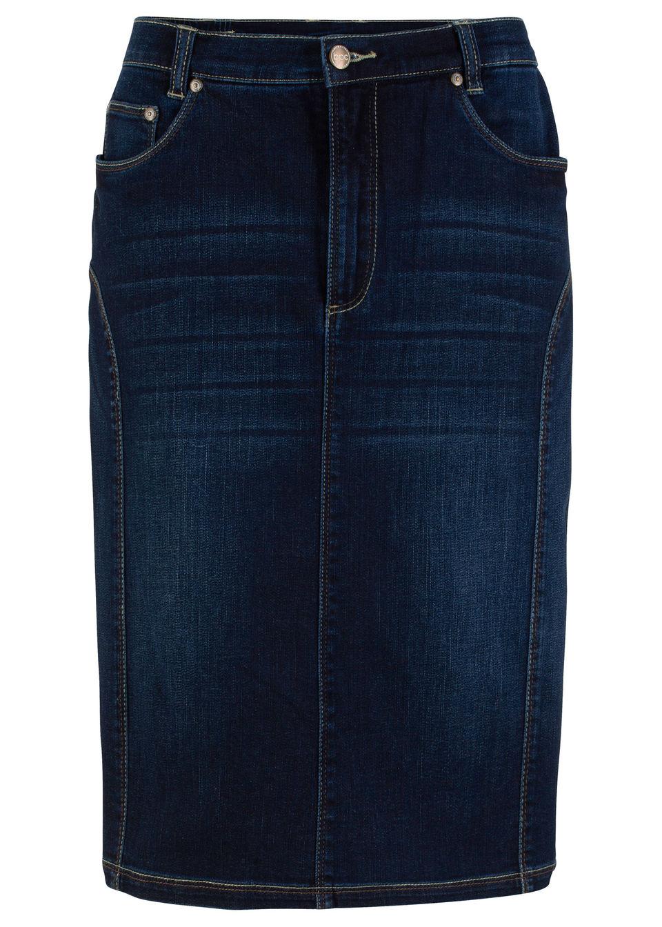 Spódnica ze szwami nadającymi atrakcyjny wygląd sylwetce bonprix ciemny denim