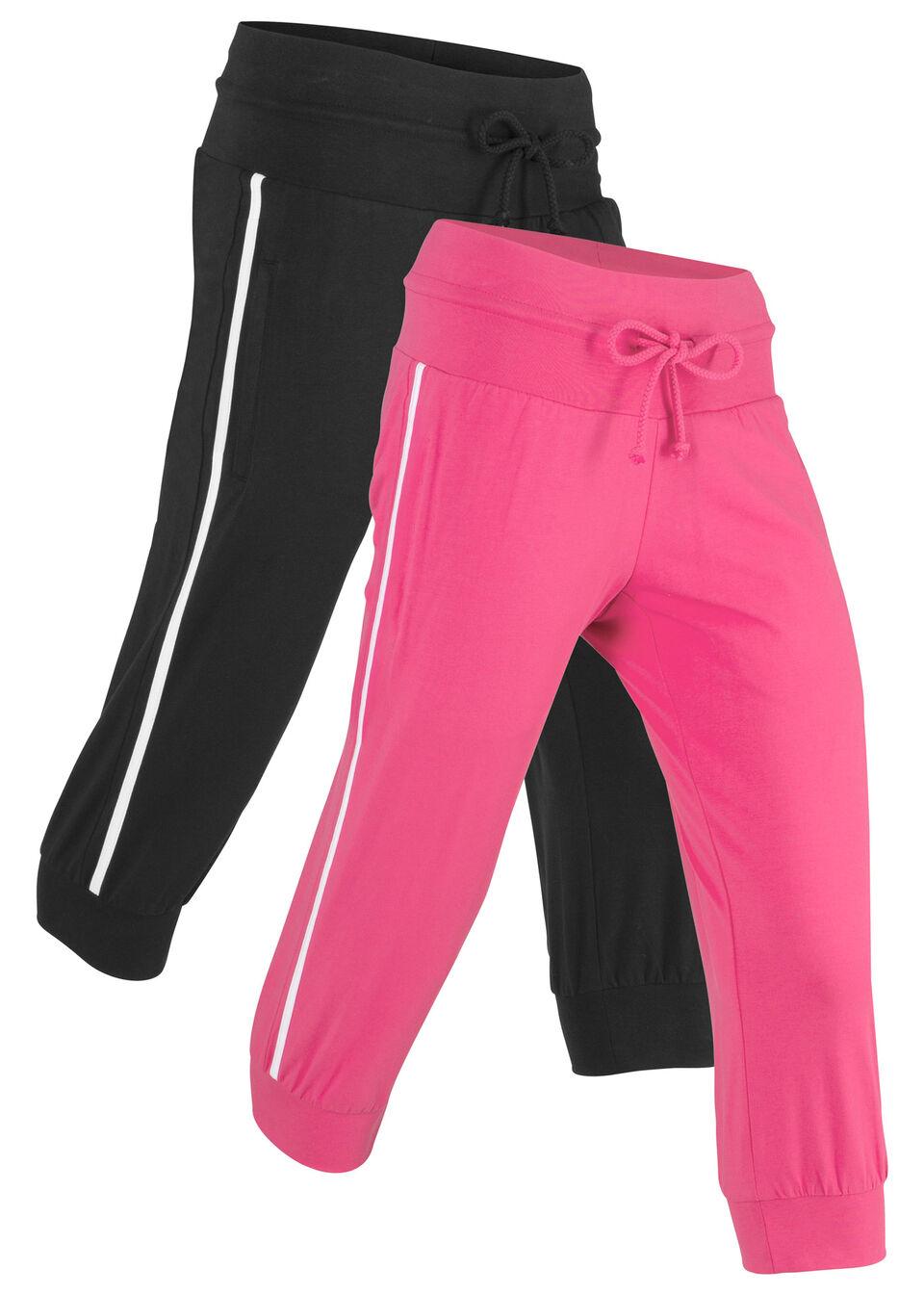 Купить Никербокеры спортивные 3/4 (2 шт.), bonprix, горячий ярко-розовый/черный