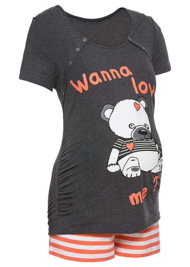 505411248405 Materské krátke pyžamo • antracitová melírovaná potlačená • bonprix obchod