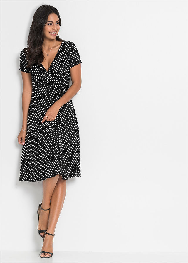 Džersejové šaty čierna biela bodkovaná • 21.99 € • bonprix d4ab90c80ea
