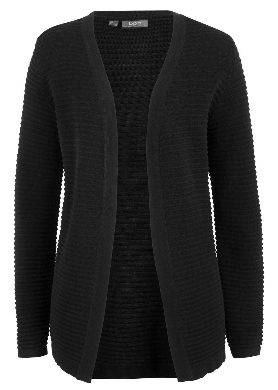 Sweter bez zapięcia w prążek bonprix czarny