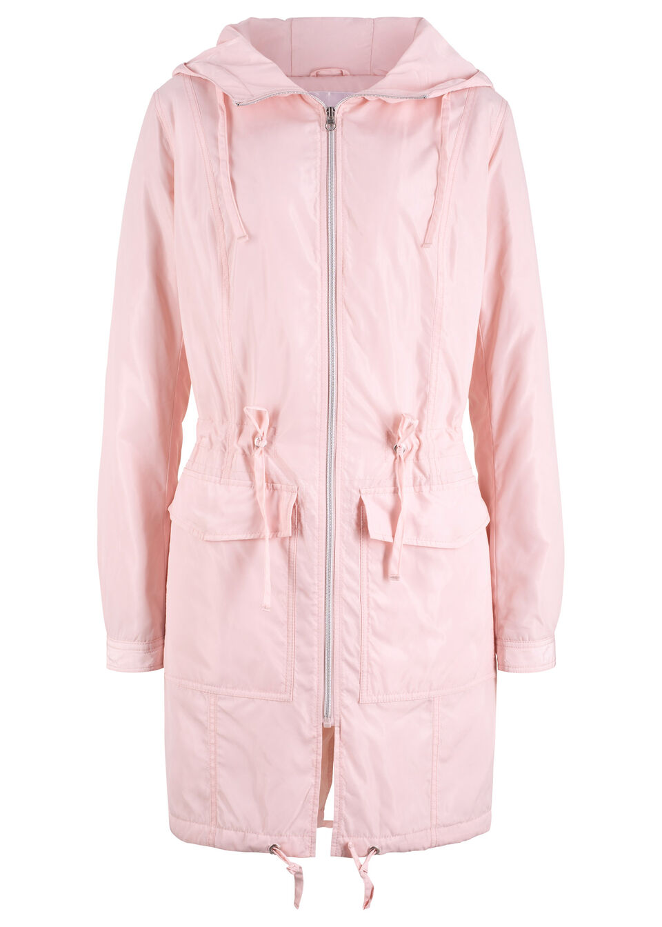 Lekki płaszcz outdoorowy z kapturem bonprix pastelowy jasnoróżowy