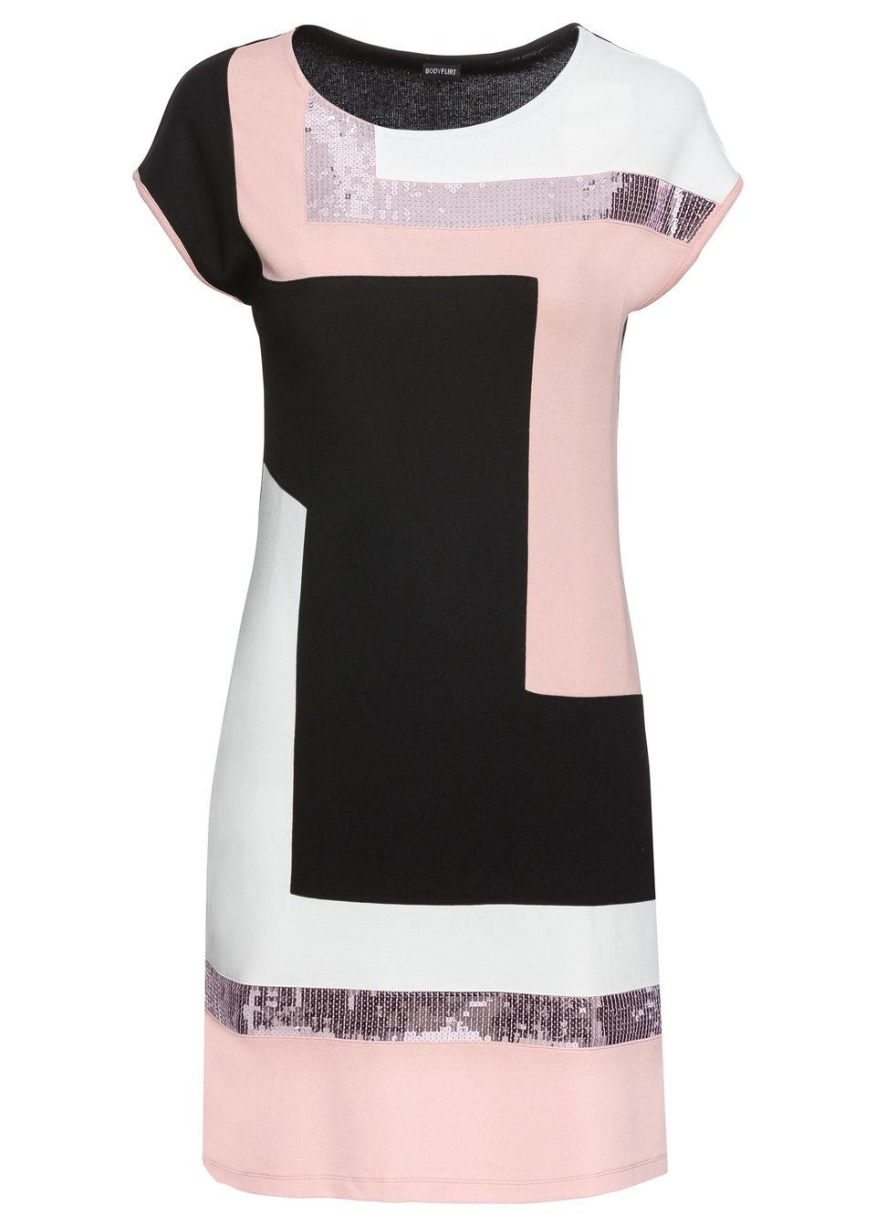 Sukienka shirtowa bonprix czarno-jasnor??owo-kremowy
