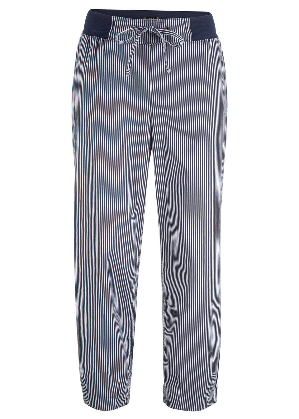 Spodnie z materiału z lnem, dł. 7/8 bonprix ciemnoniebiesko-biały w paski