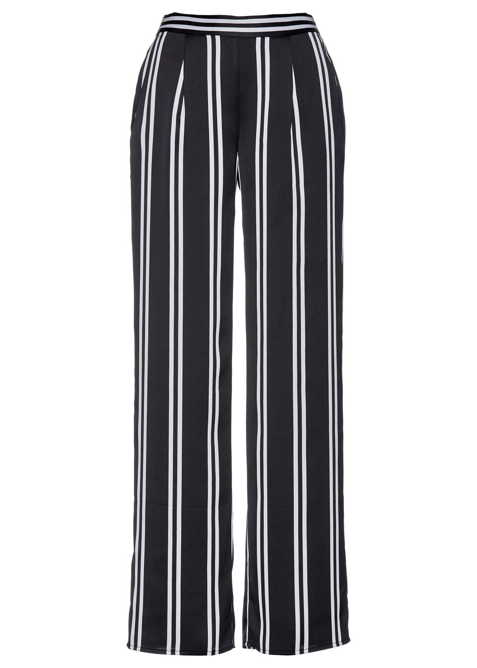 Spodnie Marlena z nadrukiem bonprix czarno-biały w paski