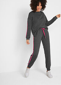Pantaloni jogging, nivel 1 negru-pink închis melanj bpc bonprix collection 3