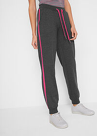 Pantaloni jogging, nivel 1 negru-pink închis melanj bpc bonprix collection 1