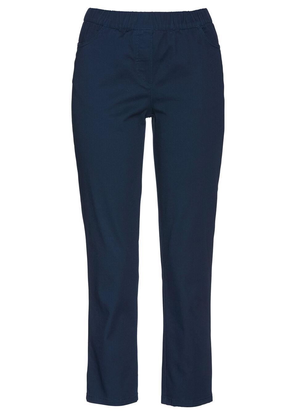 Spodnie bez zamka w talii 7/8 bonprix ciemnoniebieski