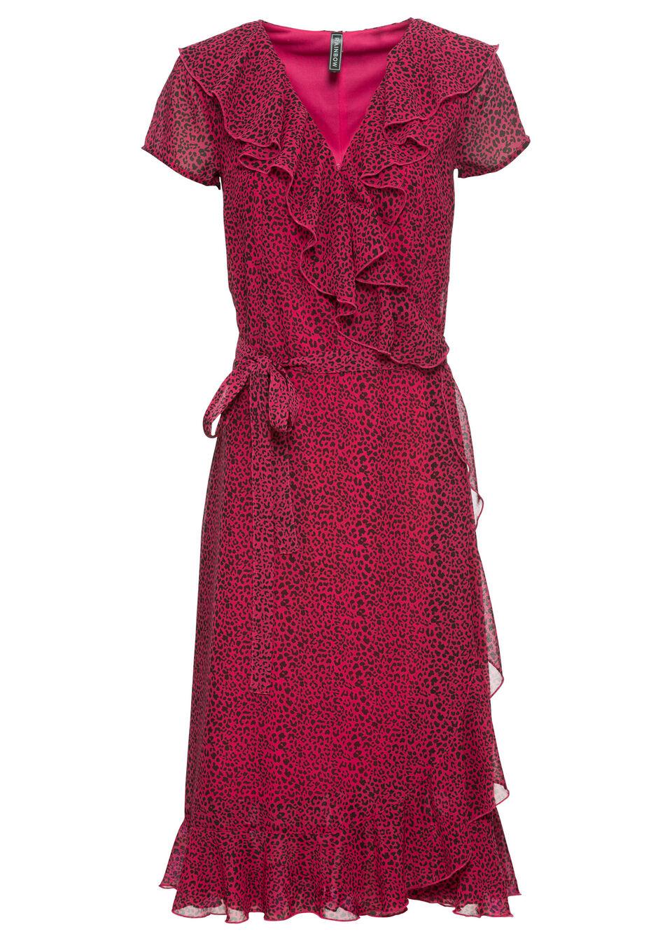 sukienki, odzież - kolekcja wiosenna sukienka kopertowa bonprix czerwony wiśniowy w cętki leoparda - bonprix