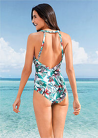 Costum de baie alb-verde imprimat bpc bonprix collection 2