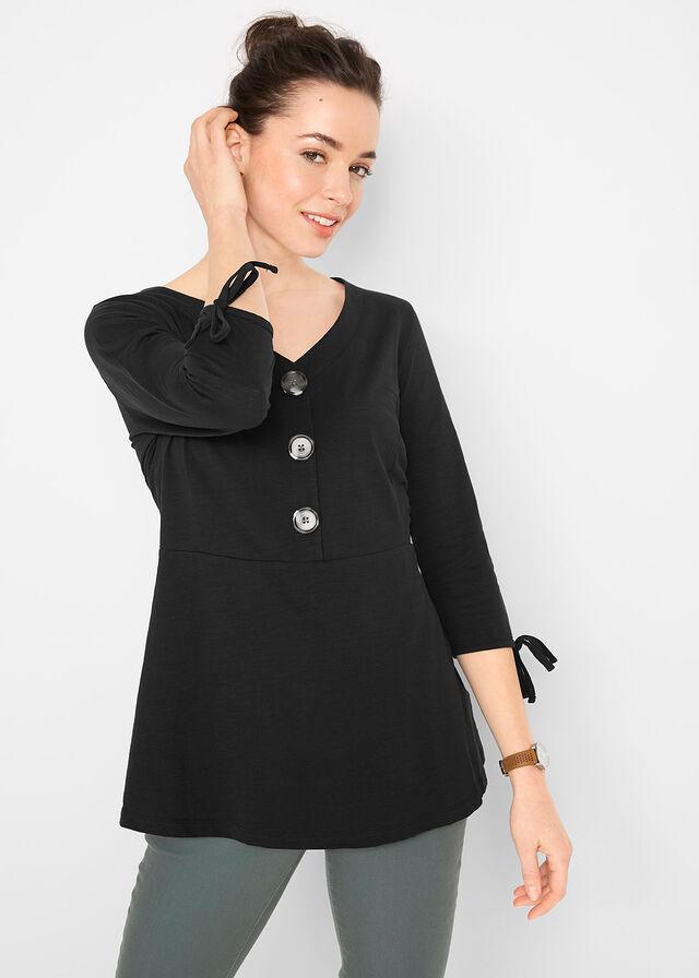 22e6b9729088f0 Shirt z dżerseju z plisą guzikową i wiązanymi troczkami w dole rękawów •  czarny • bonprix