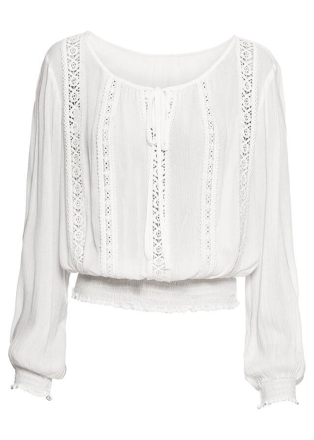 f8b6ebcf7468 Blúzka s crochet čipkou biela vlna • 22.99 € • bonprix