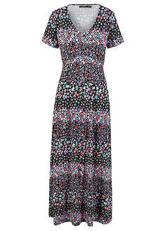 c99c6ef605 Długa sukienka z krótkim rękawem czarno-lila w kwiaty • 129.99 zł ...